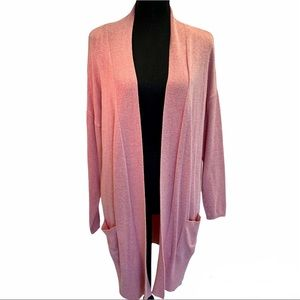 Lily Morgan pink long open front cardigan size M